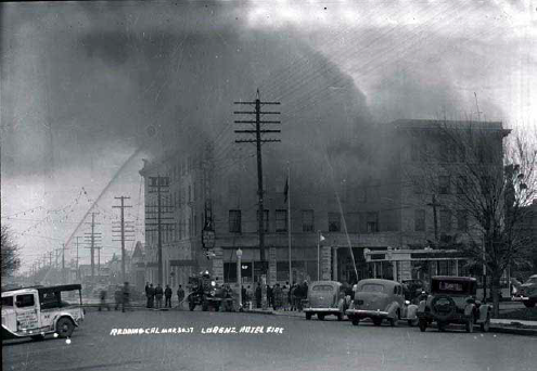 Lorenz Hotel on fire in the 1930s